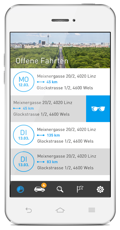 Elektronisches Fahrtenbuch AutoLogg - Fahrten zuordnen in der App - Screen Privatfahrt Auswahl