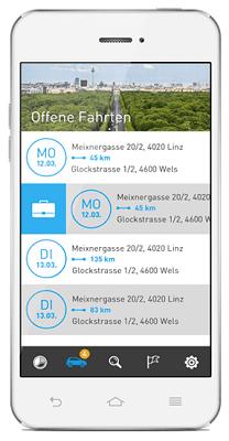 Elektronisches Fahrtenbuch AutoLogg - Fahrten per Wisch zuweisen