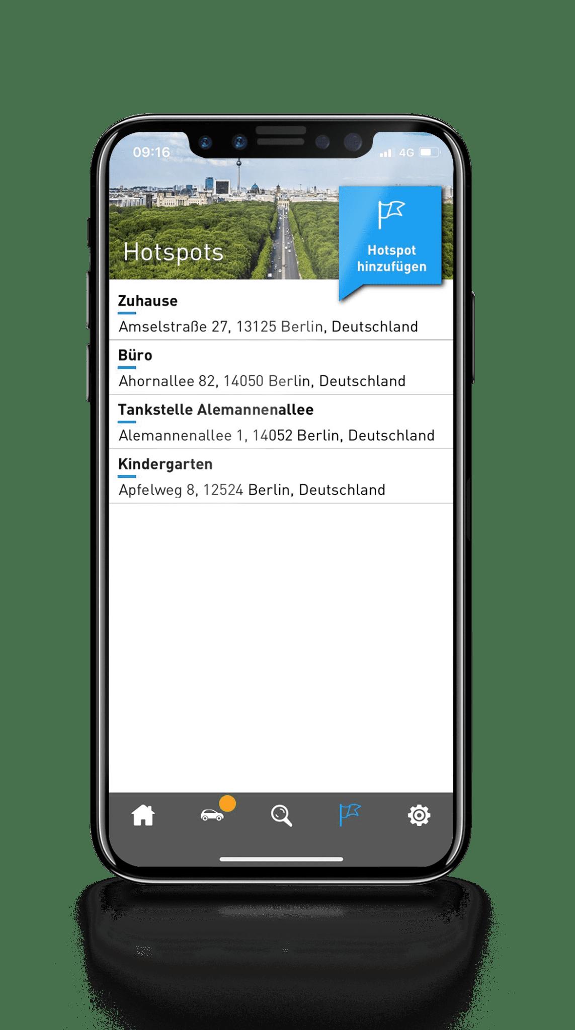 AutoLogg App - Hotspots anlegen