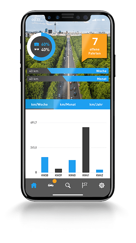 Übersichtliche Fahrtenstatistik in der Fahrtenbuch App von AutoLogg
