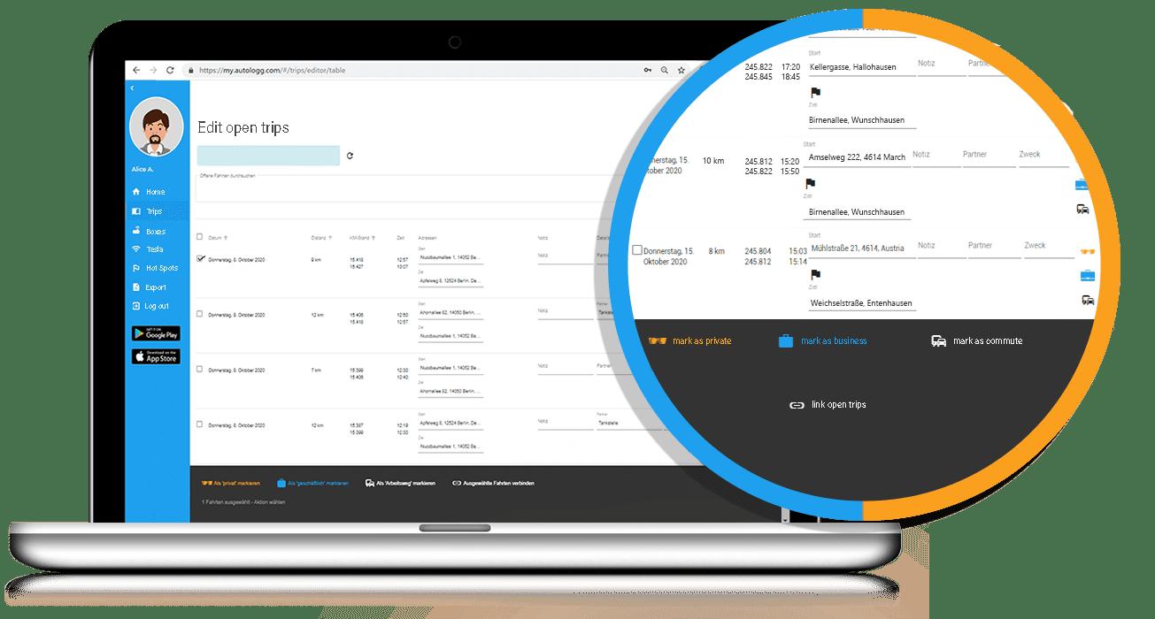 Trip editor - AutoLogg Web-Portal